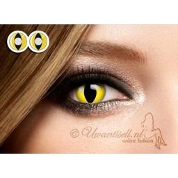 Crazy-Lenzen: Gele Cat Eye Kleur Lenzen
