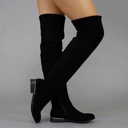 NEW1608 Basic Zwarte Suède-Look Overknee Laarzen met Kleine Hak