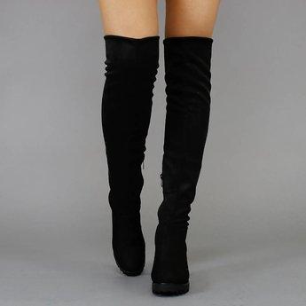 !OP=OP Zwarte Suède-Look Overknee Laarzen met Blokhak