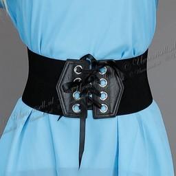 Brede Elastische Zwarte Tailleriem met Rijgdetail