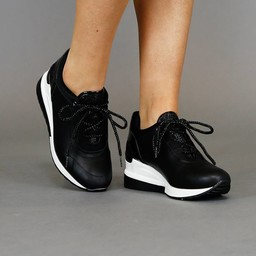 NEW2103 Trendy Lederlook Wedge Sneakers met Glitters