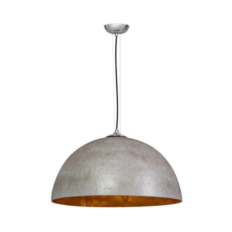 Hanglamp mezzo tondo beton grijs goud 50cm for Grote hanglamp eettafel