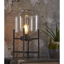 Tafellamp Oud Zilver Glazen Bol