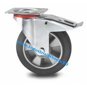 Drejeligt hjul bremse, Ø 200mm, Elastisk gummi, 400KG