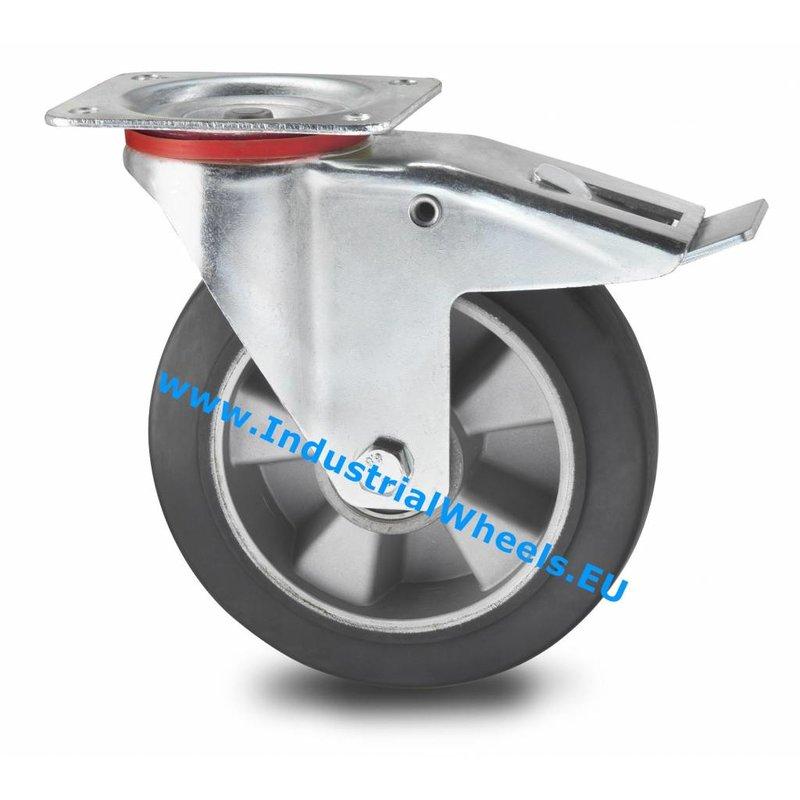 Drejeligt hjul bremse, Ø 160mm, Elastisk gummi, 300KG