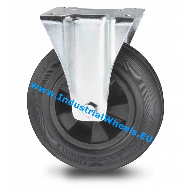Fast hjul, Ø 80mm, Massiv sort gummi, 65KG