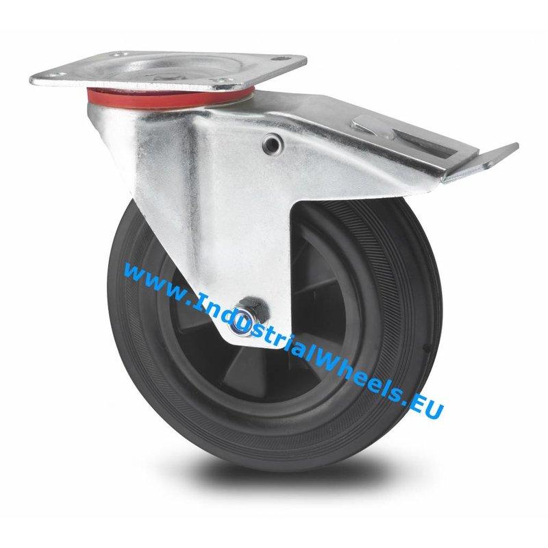 Drejeligt hjul bremse, Ø 100mm, Massiv sort gummi, 80KG