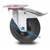Drejeligt hjul bremse, Ø 160mm, Massiv sort gummi, 180KG