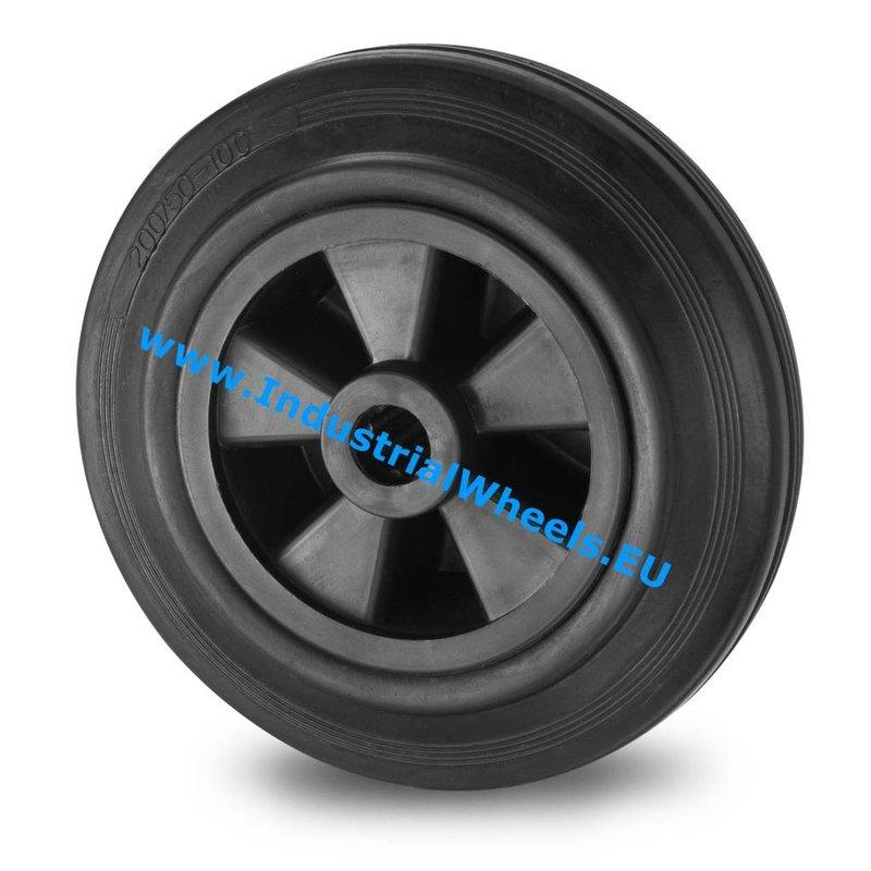 Hjul, Ø 80mm, Massiv sort gummi, 65KG