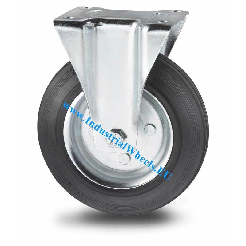 Fast hjul, Ø 160mm, Massiv sort gummi, 180KG