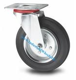 Transporthjul Drejeligt hjul Stål, Pladebefæstigelse, Massiv sort gummi, rulleleje, Hjul-Ø 100mm, 80KG
