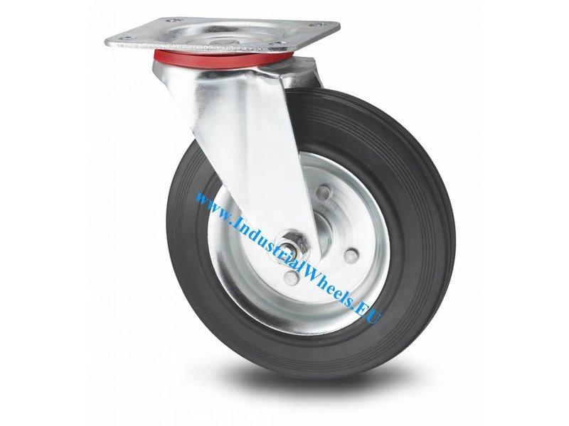 Transporthjul Drejeligt hjul Stål, Pladebefæstigelse, Massiv sort gummi, rulleleje, Hjul-Ø 200mm, 200KG