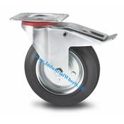 Drejeligt hjul bremse, Ø 200mm, Massiv sort gummi, 200KG