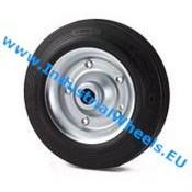 Hjul, Ø 200mm, Massiv sort gummi, 230KG