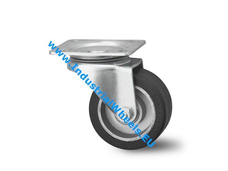 Transporthjul Forstærket Gaffel Drejeligt hjul Presset hårdt stål, Pladebefæstigelse, Elastisk gummi, DIN-kugleleje, Hjul-Ø 125mm, 200KG