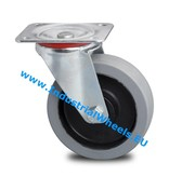 Transporthjul Drejeligt hjul Stål, Pladebefæstigelse, Elastisk gummi, 2-RS DIN-kugleleje, Hjul-Ø 125mm, 200KG