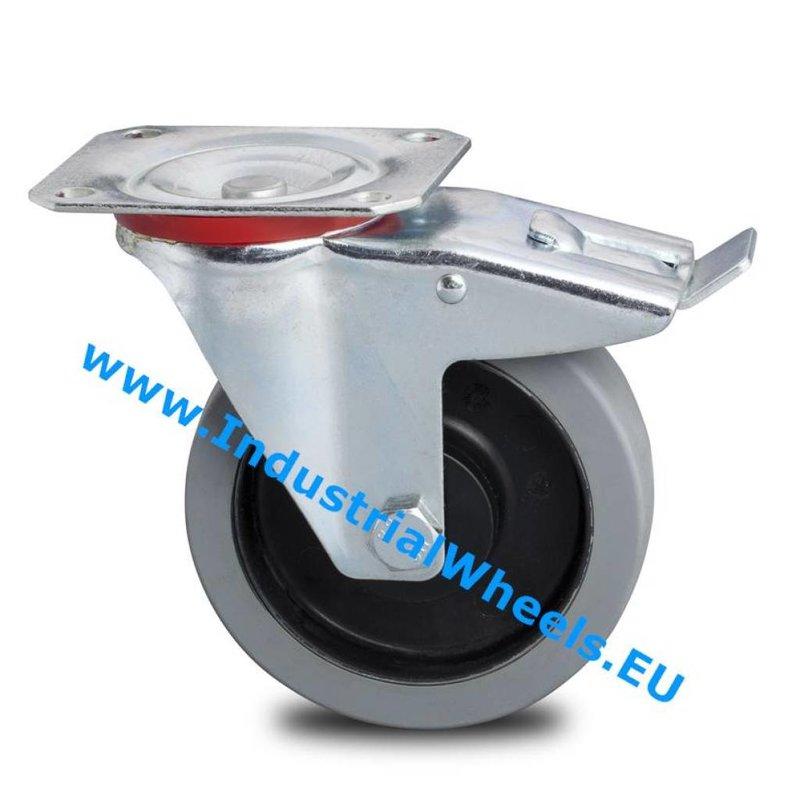 Drejeligt hjul bremse, Ø 125mm, Elastisk gummi, 200KG
