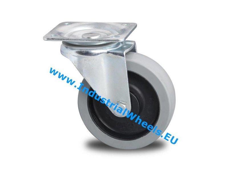 Transporthjul Forstærket Gaffel Drejeligt hjul Presset hårdt stål, Pladebefæstigelse, Elastisk gummi, rulleleje, Hjul-Ø 125mm, 200KG