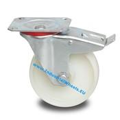 Transport Zwenkwiel met rem uit Geperst plaatstaal, Plaatbevestiging, Geheel Polyamide wiel, Rollager, Wiel-Ø 125mm, 250KG
