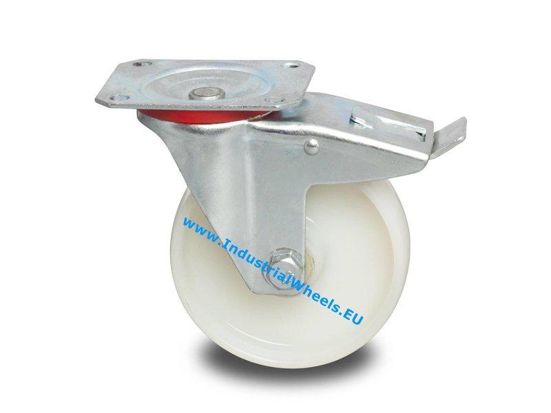 Zestawy kołowe transportowe Zestaw obrotowy  blokadą  tłoczonej blachy stalowej, płytka mocująca, Piasta Poliamidu, łożysko rolkowe, Koło-Ø 200mm, 300KG