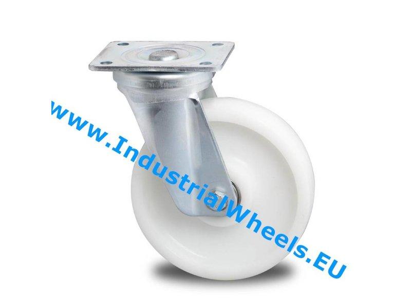 Hårde hjul Drejeligt hjul Stål, Pladebefæstigelse, PolyamidHjul, DIN-kugleleje, Hjul-Ø 200mm, 1000KG