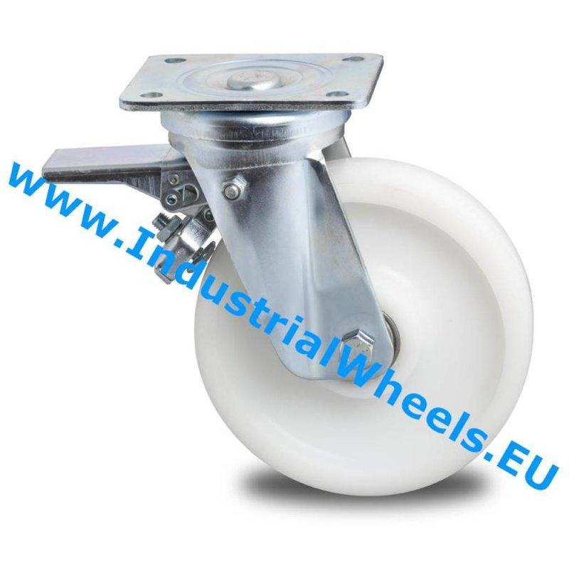 Drejeligt hjul bremse, Ø 200mm, PolyamidHjul, 1000KG