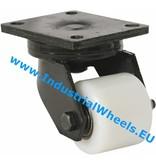 Hårde hjul Drejeligt hjul Gaffel og montageplade af stålsvejst konstruktion, Pladebefæstigelse, PolyamidHjul, DIN-kugleleje, Hjul-Ø 82mm, 650KG