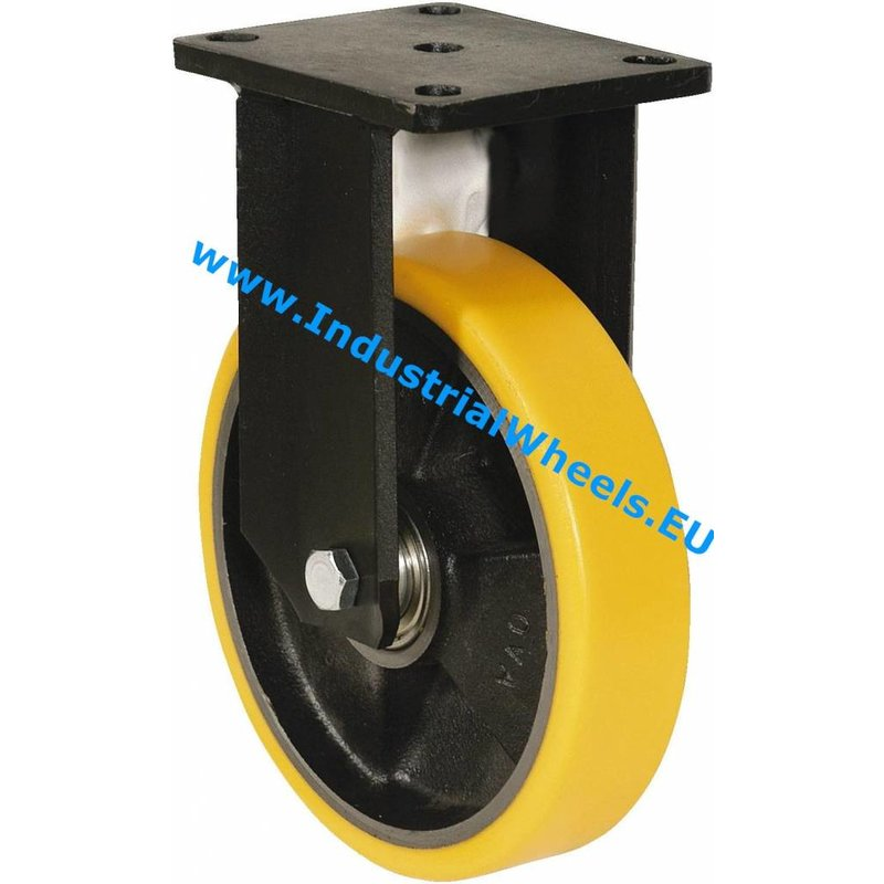 Fast hjul, Ø 100mm, Vulkaniseret Polyuretan, 250KG