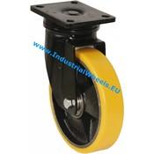 Drejeligt hjul, Ø 250mm, Vulkaniseret Polyuretan, 1400KG