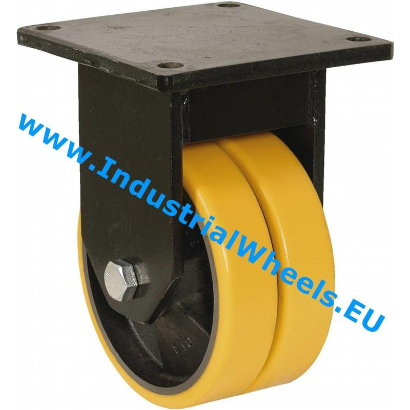 Fast hjul, Ø 125mm, Vulkaniseret Polyuretan, 600KG