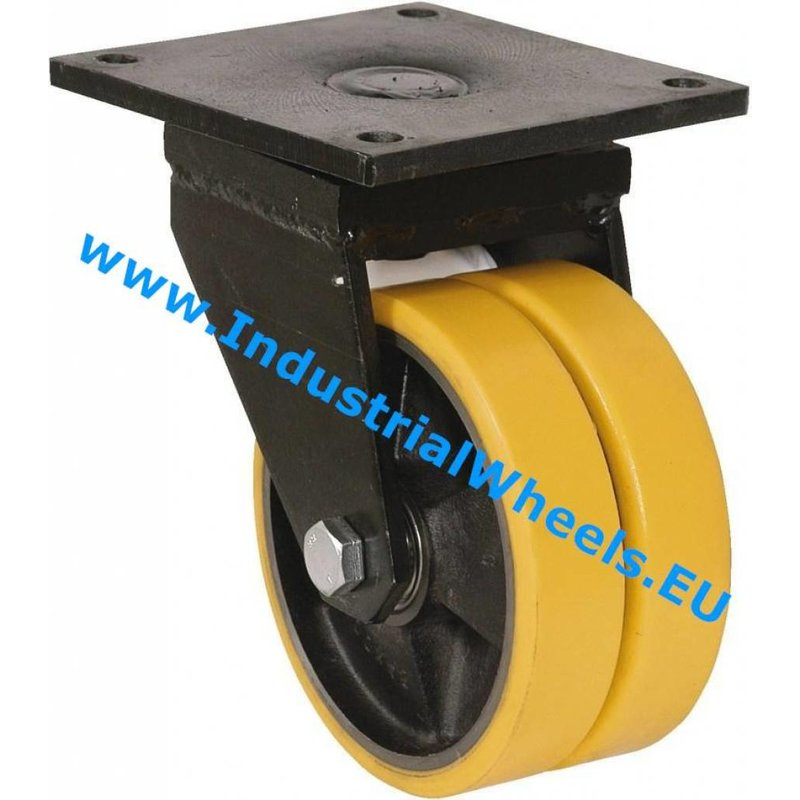 Drejeligt hjul, Ø 125mm, Vulkaniseret Polyuretan, 750KG