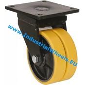 Drejeligt hjul, Ø 400mm, Vulkaniseret Polyuretan, 6000KG