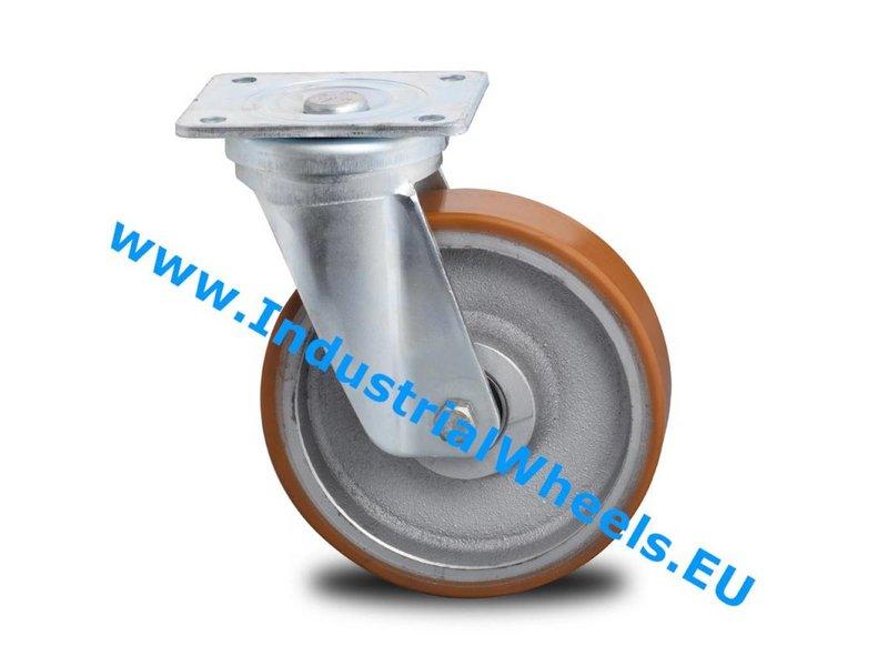 Hårde hjul Drejeligt hjul Stål, Pladebefæstigelse, Vulkaniseret Polyuretan, DIN-kugleleje, Hjul-Ø 200mm, 950KG