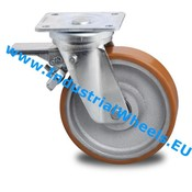Swivel caster with brake, Ø 125mm, Vulcanized Polyurethane tread, 400KG