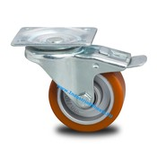Swivel caster with brake, Ø 125mm, Vulcanized Polyurethane tread, 250KG