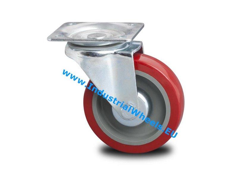 Transporthjul Forstærket Gaffel Drejeligt hjul Presset hårdt stål, Pladebefæstigelse, Elastisk gummi, rulleleje, Hjul-Ø 125mm, 250KG