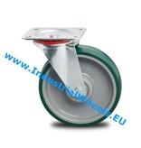Transporthjul Drejeligt hjul Stål, Pladebefæstigelse, Polyuretan, DIN-kugleleje, Hjul-Ø 125mm, 200KG