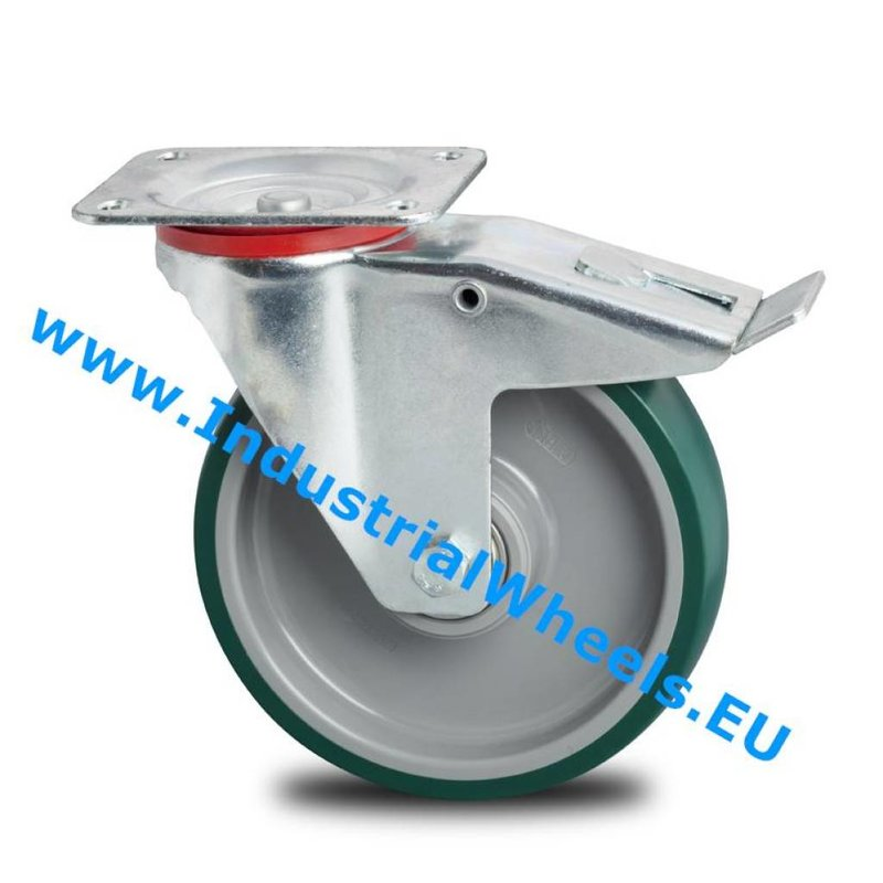 Drejeligt hjul bremse, Ø 125mm, Polyuretan, 200KG