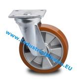 Hårde hjul Drejeligt hjul Stål, Pladebefæstigelse, Vulkaniseret Polyuretan, DIN-kugleleje, Hjul-Ø 125mm, 300KG