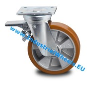 Swivel caster with brake, Ø 125mm, Vulcanized Polyurethane tread, 300KG