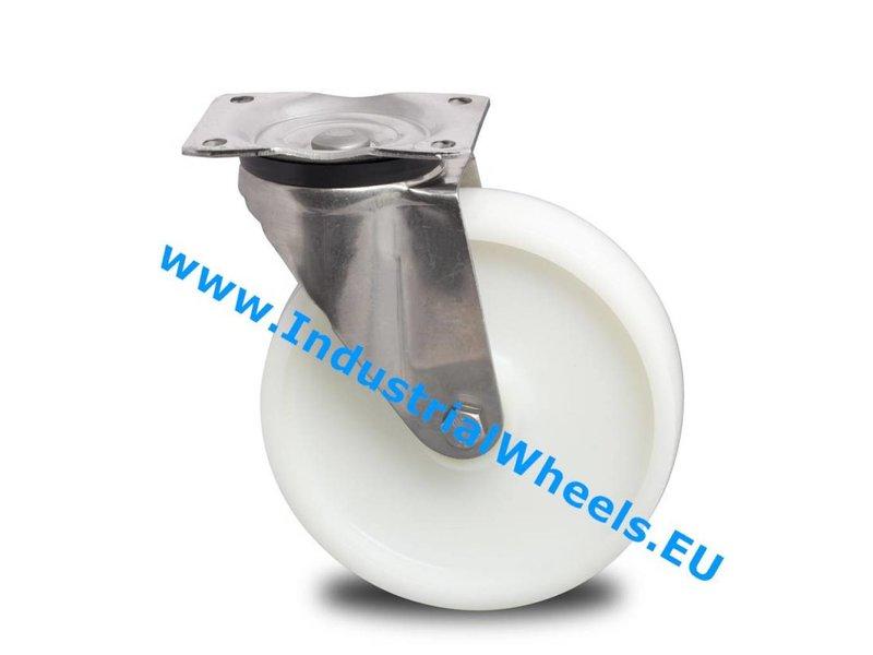 Rustfri hjul Drejeligt hjul Rustfrit stål Blachy, Pladebefæstigelse, PolyamidHjul, glideleje, Hjul-Ø 200mm, 500KG