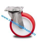 Rustfri hjul Drejeligt hjul Rustfrit stål Blachy, Pladebefæstigelse, Polyuretan, rulleleje Rustfrit stål, Hjul-Ø 160mm, 450KG