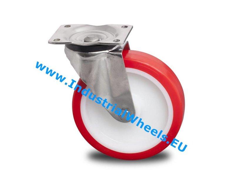 Rustfri hjul Drejeligt hjul Rustfrit stål Blachy, Pladebefæstigelse, Polyuretan, rulleleje Rustfrit stål, Hjul-Ø 200mm, 500KG