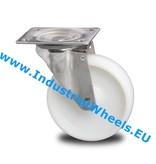 Rustfri hjul Drejeligt hjul Rustfrit stål Blachy, Pladebefæstigelse, PolyamidHjul, glideleje, Hjul-Ø 80mm, 150KG