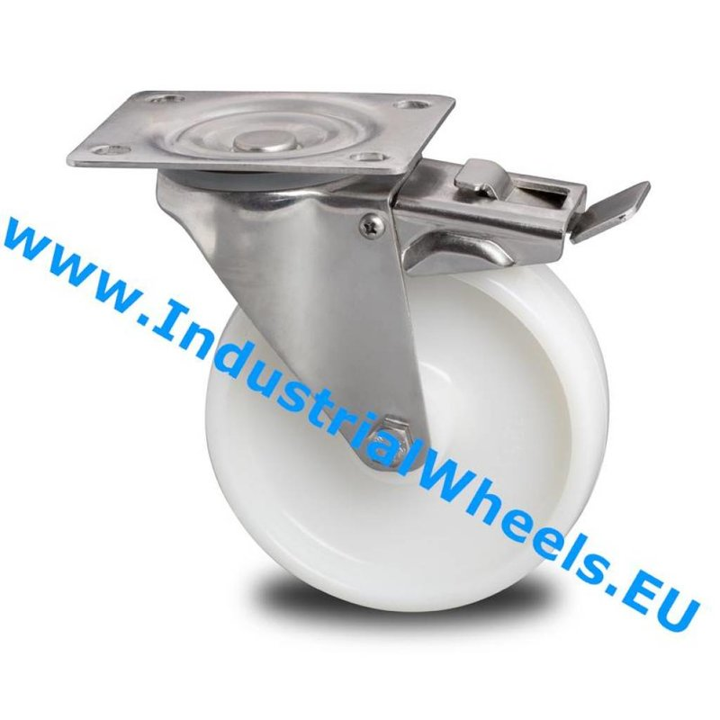 Drejeligt hjul bremse, Ø 80mm, PolyamidHjul, 150KG
