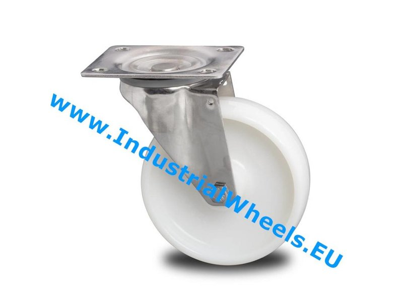 Rustfri hjul Drejeligt hjul Rustfrit stål Blachy, Pladebefæstigelse, PolyamidHjul, rulleleje Rustfrit stål, Hjul-Ø 200mm, 300KG