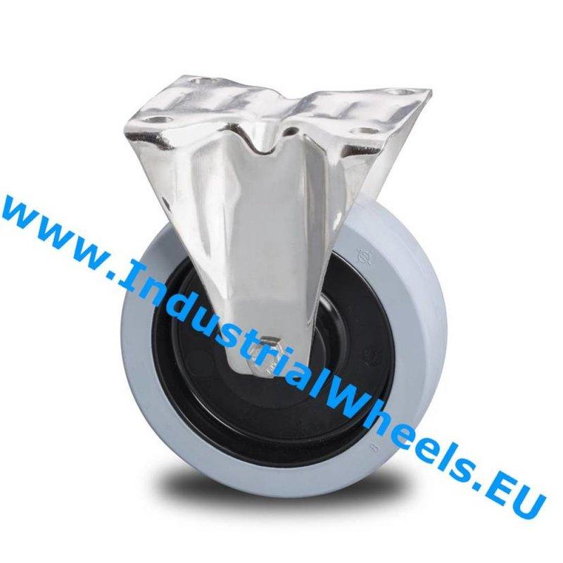 Fast hjul, Ø 125mm, Vulkaniseret gummi elastisk dæk, 200KG