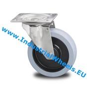 Drejeligt hjul, Ø 100mm, Vulkaniseret gummi elastisk dæk, 150KG