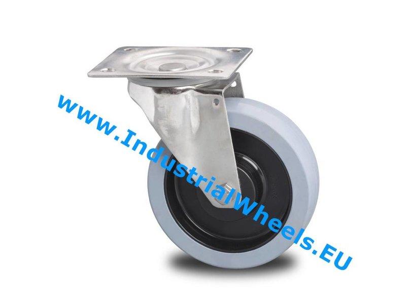 Rustfri hjul Drejeligt hjul Rustfrit stål Blachy, Pladebefæstigelse, Vulkaniseret gummi elastisk dæk, 2-RS DIN-kugleleje, Hjul-Ø 125mm, 200KG
