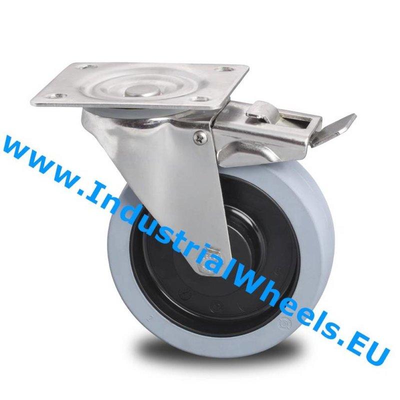Drejeligt hjul bremse, Ø 125mm, Vulkaniseret gummi elastisk dæk, 200KG